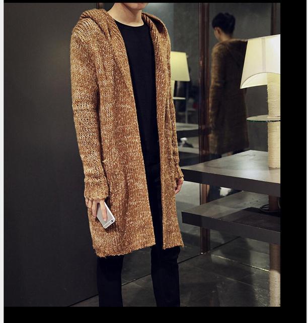 Осенью и зимой Корейский Прилив мужская ветровка куртка Тонкий длинный утолщаются пальто повседневная мужская плащ молодежь Вязать кардиган