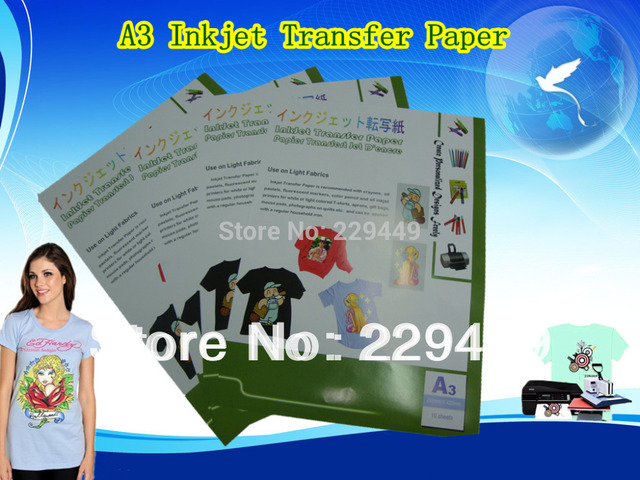 100pcsXA3 Inkjet Heat Transfer Pinting Paper For Light Color T shirt Heart Clothing Transfer Paper With Heat Press HT150R