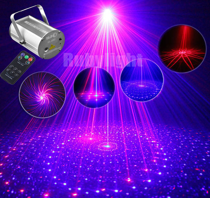 New IR Remote 9 wonderful Patterns Red Blue Mini Laser Stage Lighting Projector RB Stage Party DJ Effect Club Bar Stars Lights(China (Mainland))