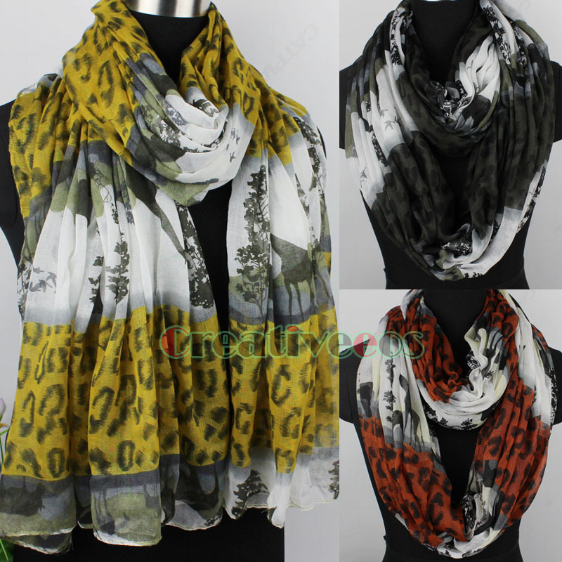 Rural Style Striped Leopard&Mountains&Trees&Deer Other Long Scarf/Infinity Scarf(China (Mainland))