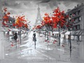 Handpainting Modern Abstract Landscape Canvas Picture Hand Painted Wall Art Decor People Walk Under the Eiffel