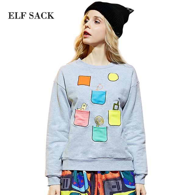 Elf SACK весна цвет блока вышивка улица о-образным вырезом с длинными рукавами пуловер ...