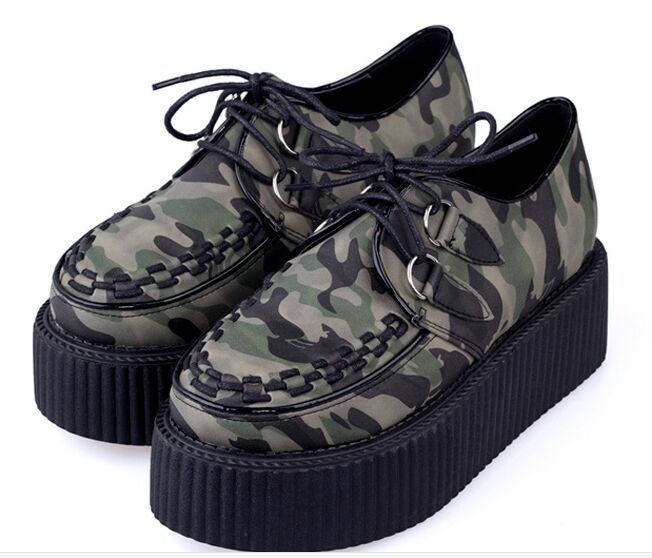 2015 Spring Autumn Military Camouflage Flat Platform Mesh Leather Women Creepers Flats Shoes Woman Street Punk Women's - amao fashion shop store