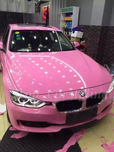 Glossy Pink Vinyl Car Wrap Bubble Free Channel Coat Designed For Car Styling Free Shipping Size:1.52x20m/roll (4.9x66ft)(China (Mainland))