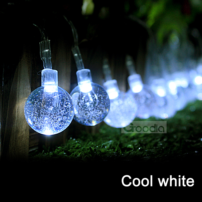White String Christmas Lights Led : AA Battery cool white Christmas Lights 175 Inches 40 LED Light String Crystal Ball Fairy String ...