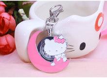 Nova olá kitty desenhos animados desgin Mulheres homem saco da corrente chave para o presente dos miúdos Casuais relógio de Bolso colar chaveiros Relojes kol saati(China)