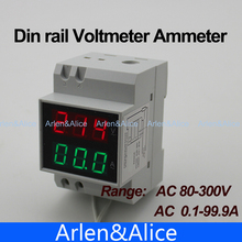 Dual LED display Voltage and current meter  voltmeter ammeter range AC 80-300V 0.1-99.9A