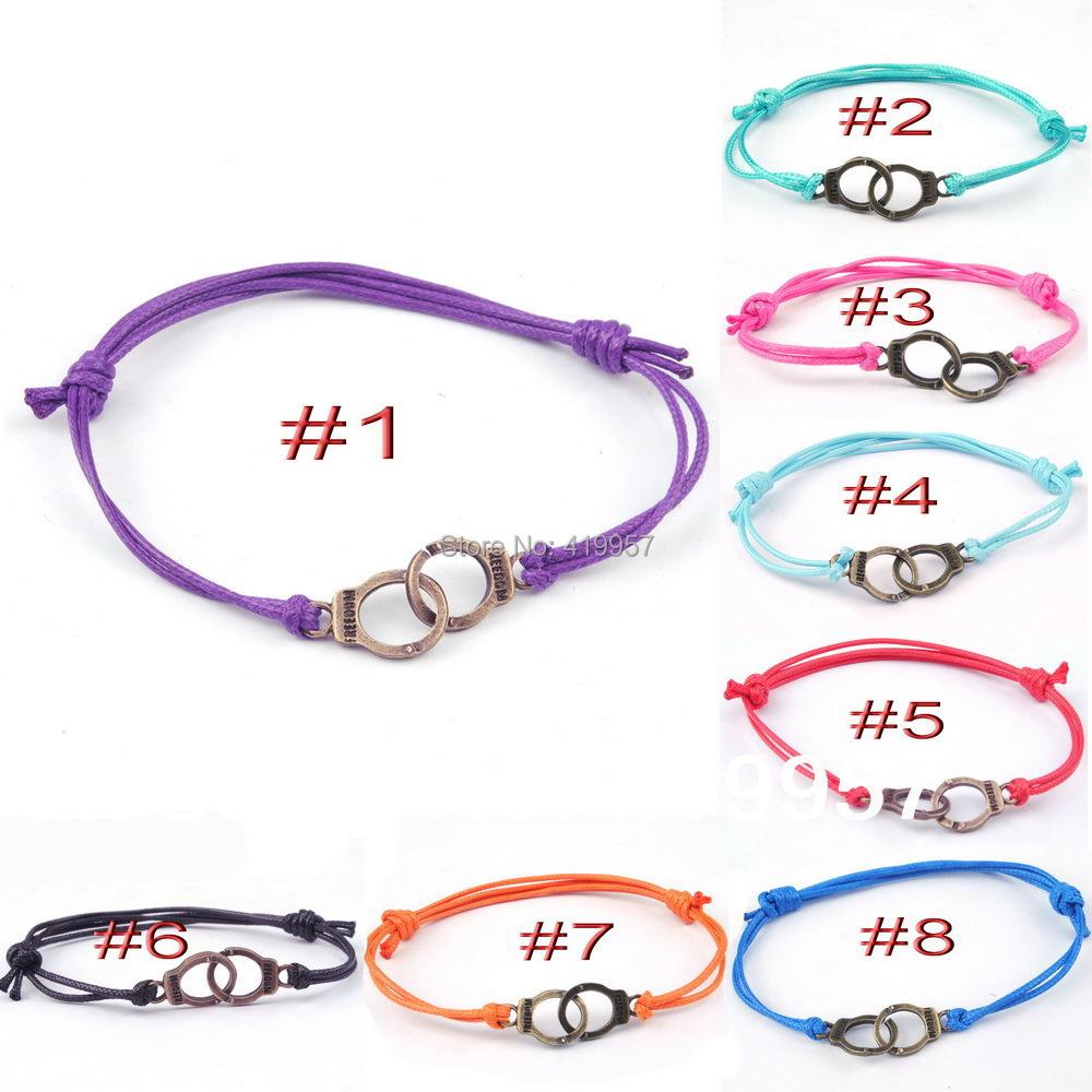 Hot Fashion Wax rope bronze handcuffs Bracelets adjustable Bangles Women Men 100% Hand weave - Sister7983(Min Order $5 store)