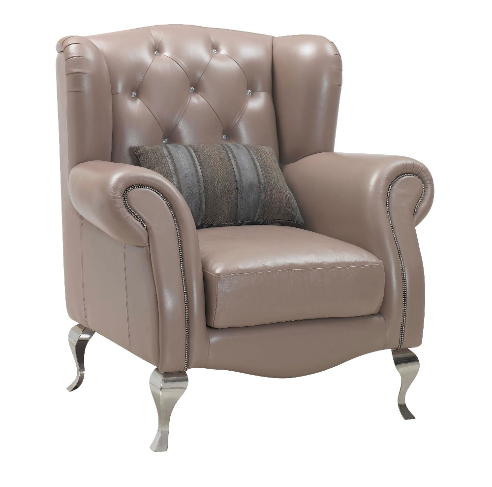 wooden frame real leather chair and arm chair for living room furniture with stainless steel legs and diamond(China (Mainland))