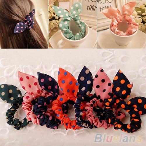 10Pcs Rabbit Ear Hair Tie Bands Accessories Japan Korean Style Ponytail Holder 2MWR(China (Mainland))