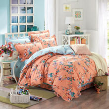 Fashion 4pcs floral country boho bedding princess pink duvets and bedding sets bedding-set cute bowknot bed linen,fast shipping(China)