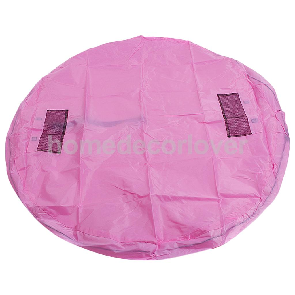 Portable Kids Play Mat Storage Bag Toys Organizer for Home Outdoor Green Pink