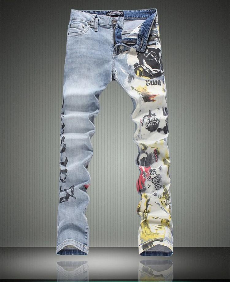 2015 Высокое Качество Европейский Стиль Гальяно OEM 3D мужская Мода Печатных Письмо Тонкие Джинсы Печати Сексуальный Шоу Брюки