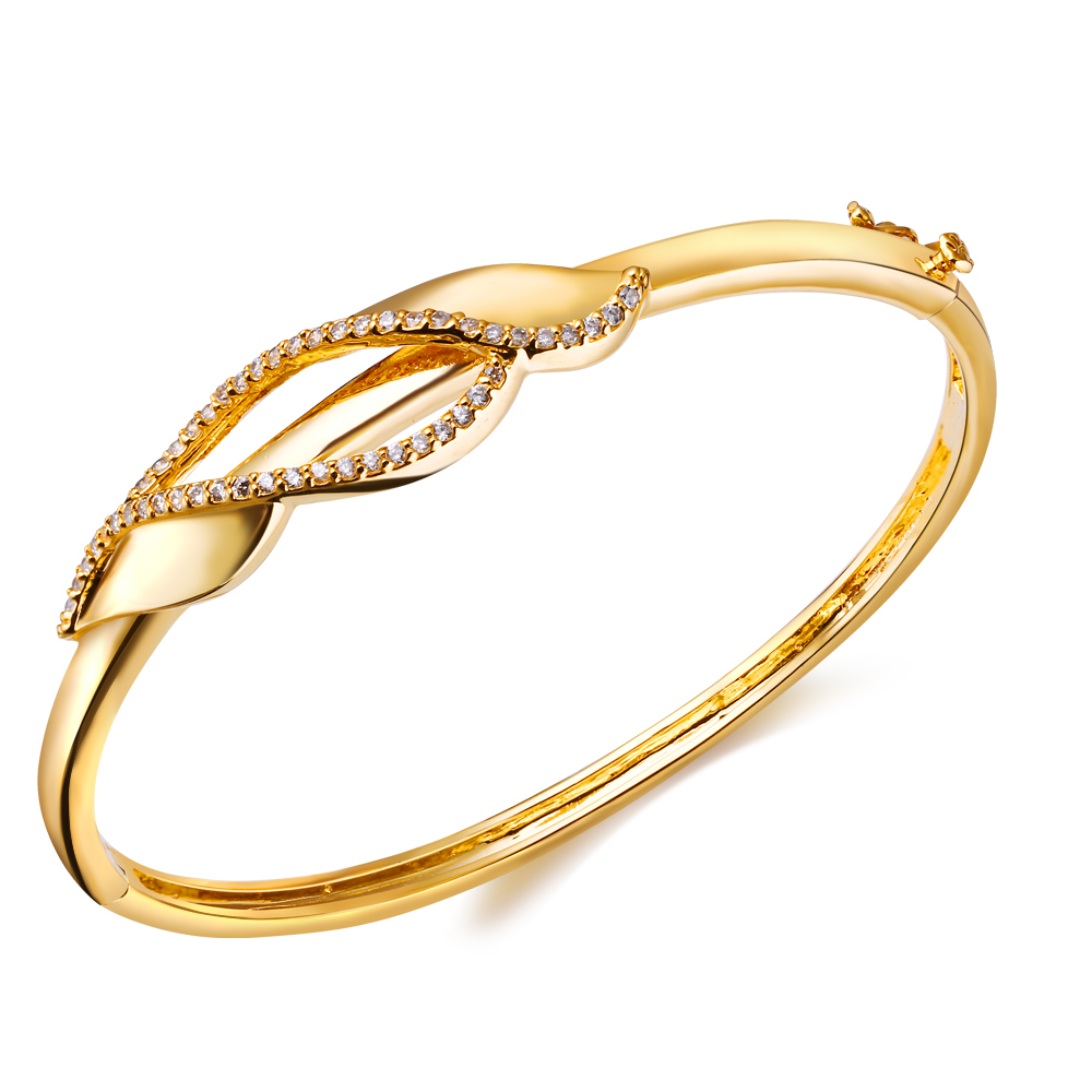 fashion bracelet 2015 New Design Sweet Look Cubic Zircon Deluxe Women Statement Bangles Platinum Plated Wedding bridal bangle - Flowers rong's store