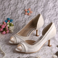 Wedopus Custom Handmade Ivory Satin and Lace Women Pumps Medium Heels 6 5CM