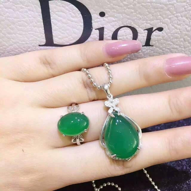 Classic simple drop big 925 silver natural green chalcedony ring pendant earrings for women party natural gem stone jewelry sets<br><br>Aliexpress