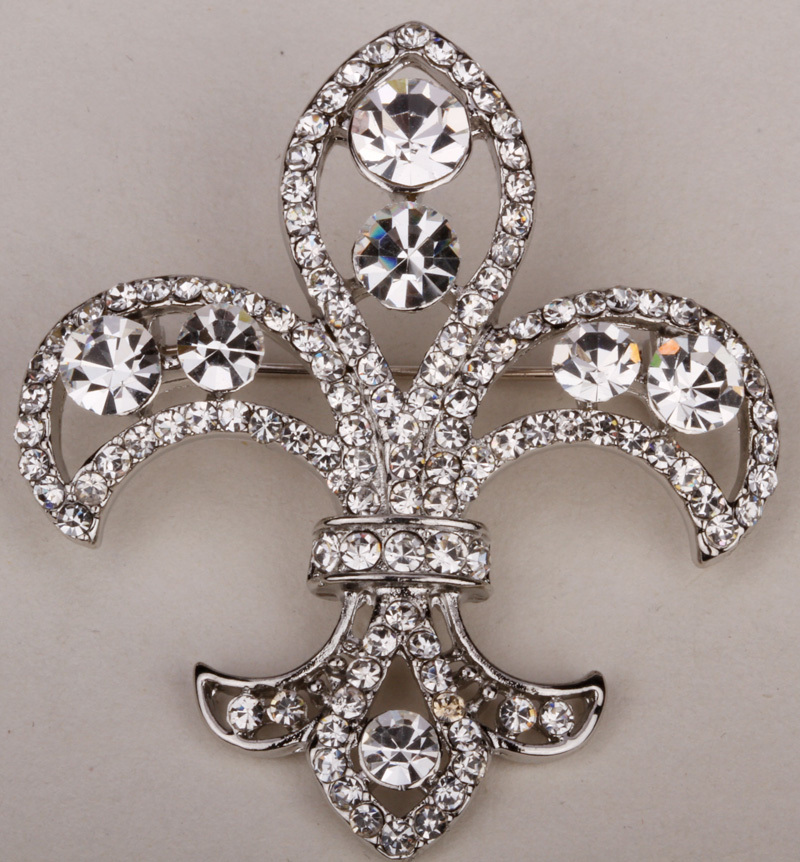 Fleur de lis brooch pin for women austrian crystal jewelry gold & silver plated wholesale dropshipping ZP08(China (Mainland))