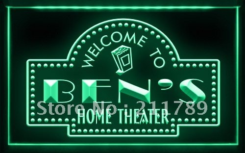 PH-TM B Name Personalized Custom Home Theater Bar Neon Sign