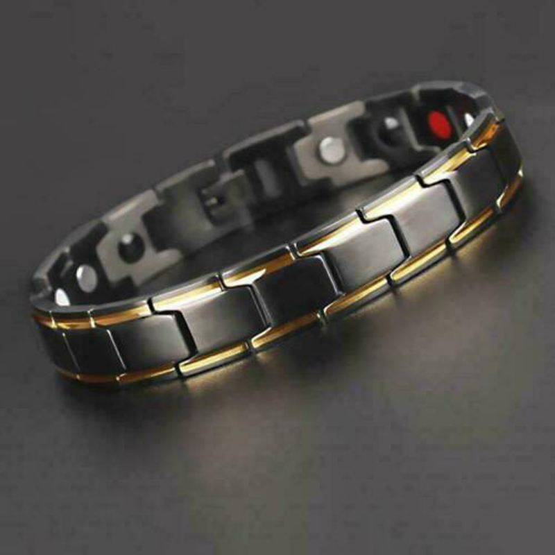 "8.46/"" Men/'s Magnetic Health Therapy Care Titanium Steel Energy Bracelet*12MM"