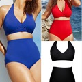 Large size Sexy swimwear pure color plus size swimwear female two Piece oversize swimsuit women s