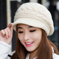 Rabbit Hair Hat for Women Winter Beanies Knitted Hats Solid Color Rabbit Fur Cap Ladies Fashion