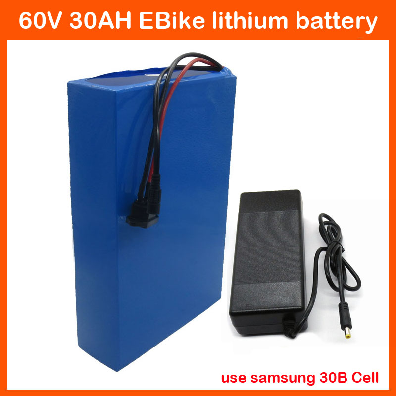 1800W Lithium Battery 60V 30AH For Electric Bike Use samsung 3000mah cell 30A BMS and 67.2V 2A Charger(China (Mainland))