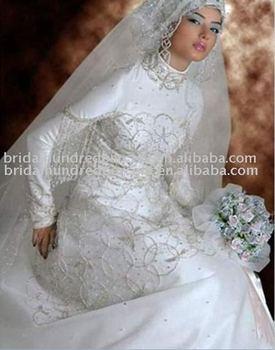 2011 Attractive Beading Muslim wedding Dress
