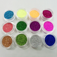 Beauty 12 Color/ Set Metal Glitter Nail Art Tool Kit Acrylic UV Powder Dust gem Polish Nail Tools#M01090