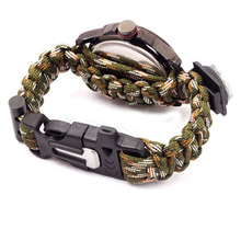 1pc Multicam Outdoor camping Travel Kit Watch With survival Flint Fire starter paracord Compass rescue Whistle