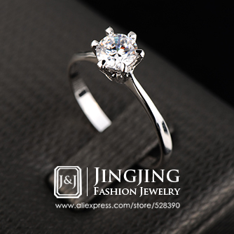 Top Selling White Gold Plated Always Classic 6 Prong Round Sparkling Solitaire 1 carat CZ Diamond Wedding Rings(China (Mainland))