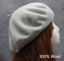 100% настоящий шерстяной берет на весну и зиму для женщин, для художников, теплая прогулочная шляпа, французский головной убор художника, бере...(China)