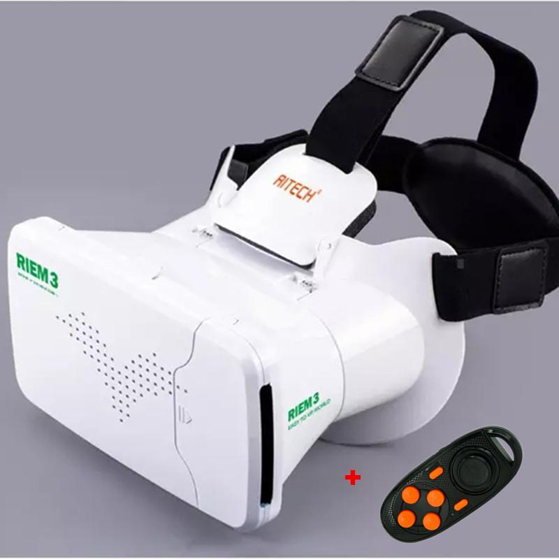RITECH <font><b>III</b></font> RIEM3 VR Virtual Reality 3D Glasses Head Mount Oculus Rift Google Cardboard + Phone Wireless Bluetooth Remote Control