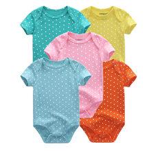 5 шт./партия, детские комбинезоны 2019, с короткими рукавами, 100% хлопок, Комбинезоны Одежда для новорожденных Roupas de bebe, комбинезон для мальчиков...(China)