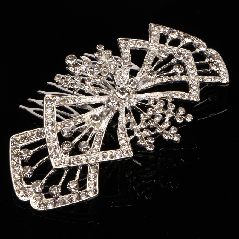 Beautiful Floral Wedding Tiara de novia Bridal Rhinestone Crystal Hair Comb Brides Head Jewelry Accessoires(China (Mainland))