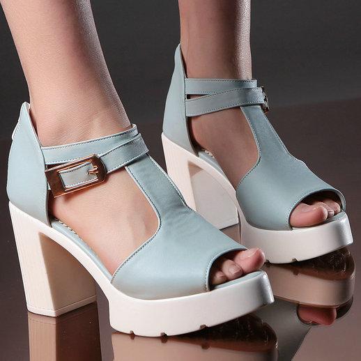 T Straps Platform high heeled sandal shoes woman 2015 open toe cutouts buckle straps chunky heel heels summer - ShenZhen LULU's Electronic Store store