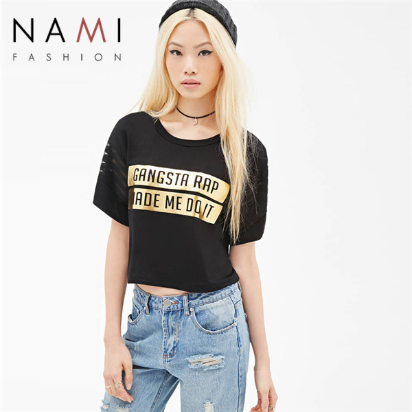 NAMI Brand Golden Graphic Letter Printed Mesh Patchwork Funny Black Women Crop Top T shirt 2015 New Summer Style O-neck Tshirt(China (Mainland))