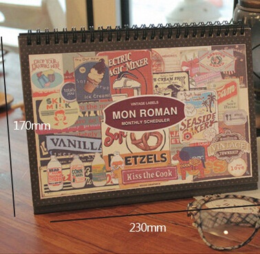 230*170mm/Korea Vintage Roman series Kraft Paper DIY Plan Book Set with sticker/Schedule book/Diary/wholesale(China (Mainland))