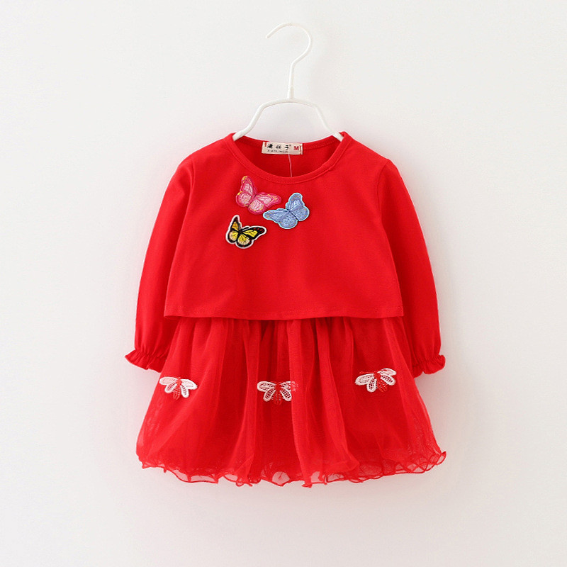 Butterfly Baby Girl Dress Long Sleeve Autumn Spring 2016 Cotton 2pc Baby Girl Clothes Newborn Baby Clothing for Girls Baby Dress(China (Mainland))