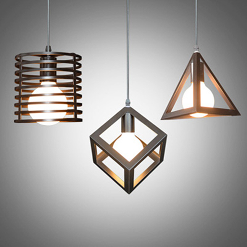 Buy Vintage Pendant Lamps Metal Cube Cage Lampshade Lighting