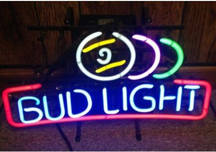 """BUD LIGHT NEON BAR LIGHT pool ball BEER SIGN 20x13"""" ANHEUSER BUSCH budweiser Avize Nikke Air Jordann Neon Sign Buddweiser 28*27(China (Mainland))"""