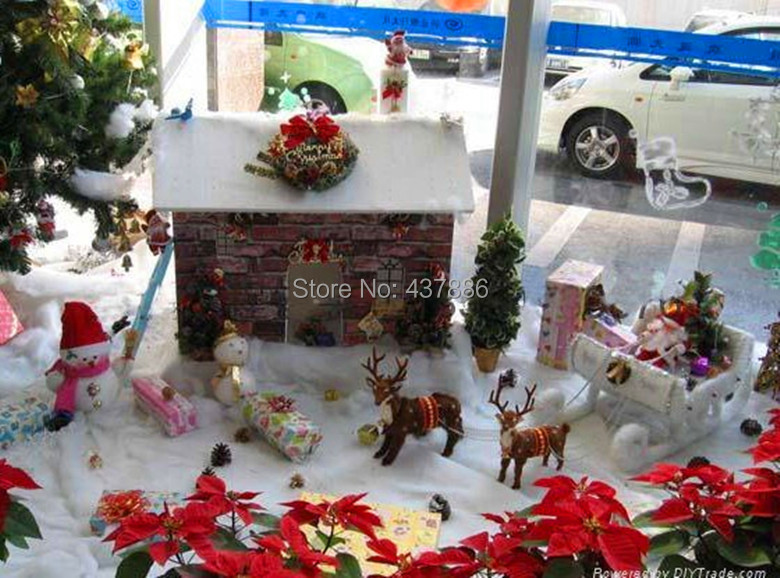 White cotton artificial snow festive christmas decoration for Artificial snow decoration