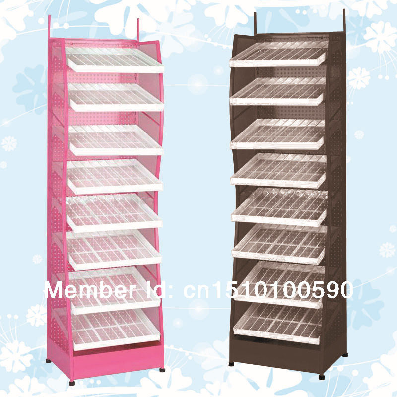Optional color metal flooring nail polish display holder shelf stand rack art 8 layers - Guangzhou Elite Display store