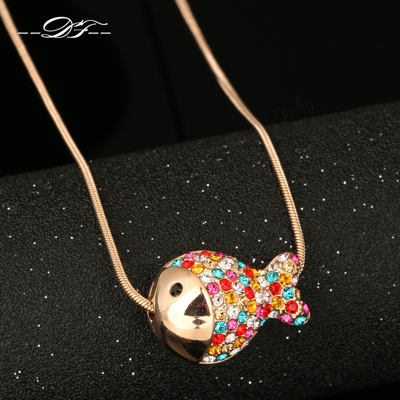 DFN009 Fish Pave Imitation Gemstone 18K Rose Gold Plated Necklace & pendants Jewelry For Women Gift Crystal Chain colares joias(China (Mainland))