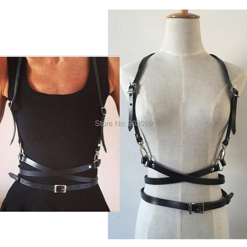 Fashion Punk Harajuku O-Ring Garters Faux Leather Body Bondage Cage Sculpting Harness Waist Belt Straps Suspenders Belt