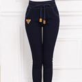 Plus Size 2016 Fashion Women Pencil Pants High Elasticity Leisure High Quality Feet Pants Navy Blue