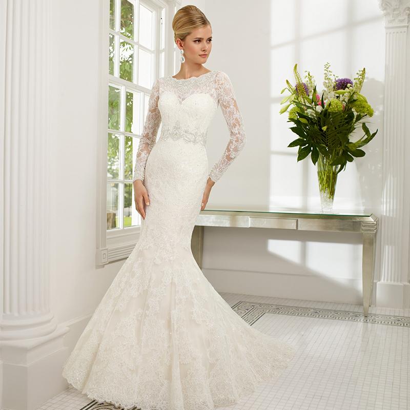 Buy 2016 sexy wedding dress boat neck for Boat neck long sleeve wedding dress