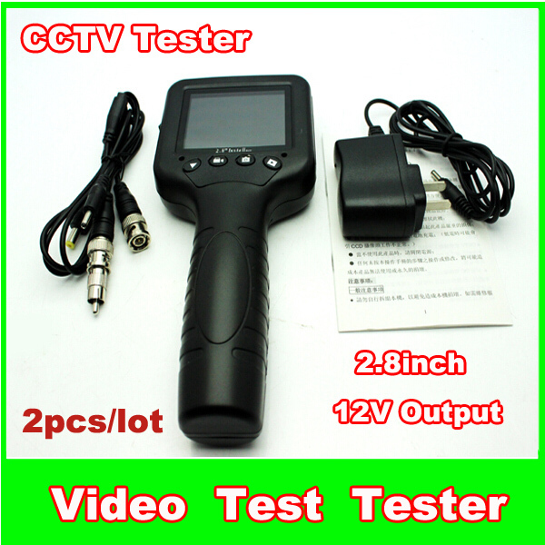 2pcs/lot 2.8 Inch LCD Monitor CCTV Security Camera Video Test Tester 12V output for Camera and camera kit
