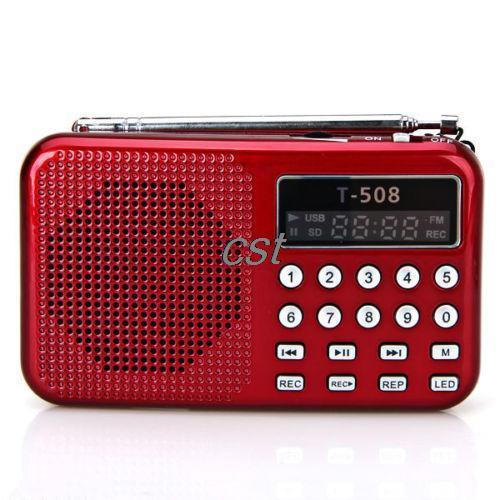 Portable Red Digital LED Light Stereo MINI FM Radio MP3 Music Player Speaker Support USB Disk
