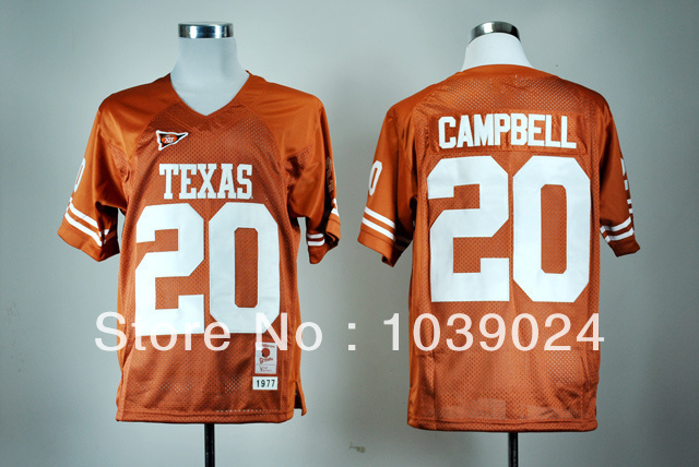 Fast Free Shipping NWT Texas Longhorns Low Price#20 Earl Campbell Jersey Burnt Orange Name No. Patch Stitched Best Quality Colle(China (Mainland))