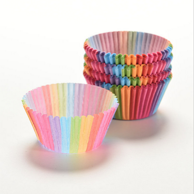 Buy 100pcs Colorful Rainbow Cupcake Paper Muffin Cases Cupcake Liner Cake Cup